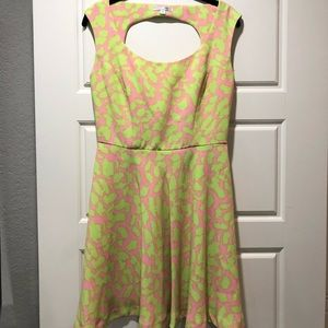Lime green and pink leopard print dress.